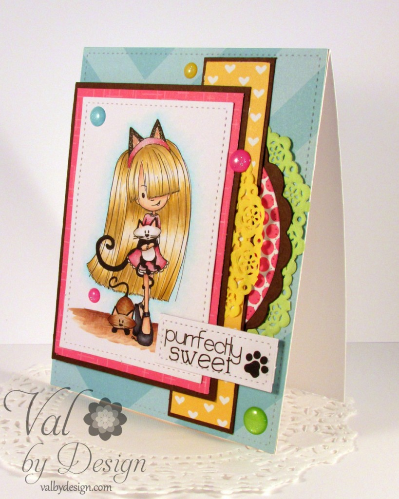 Tiddly Inks stamps, Lawn Fawn & MFT & Die-namics Dies, Avery Elle Paper, Doodlebug doilies & bling, Copic markers {ValByDesign, 2015}