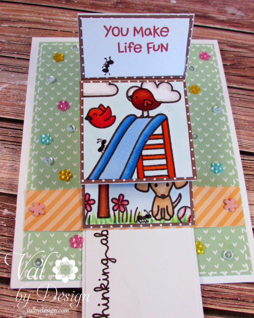Lawn Fawn stamps & dies & twine, Pretty Pink Posh sequins, Copic markers {ValByDesign, 2015}