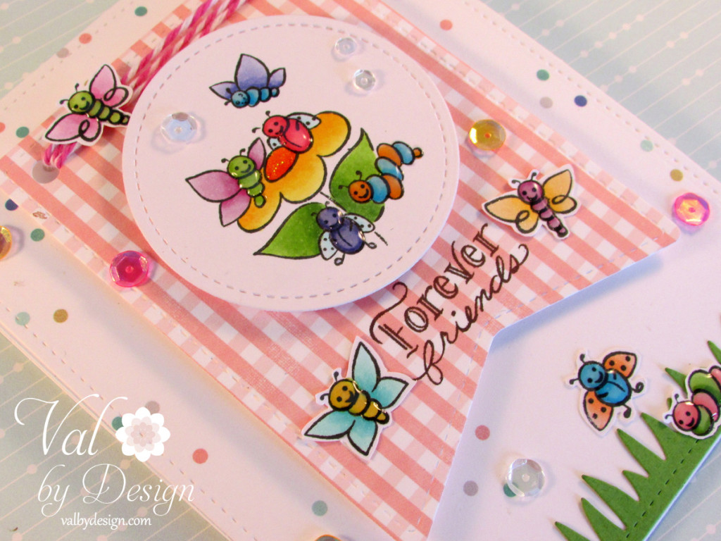 DeNami Design stamps, Lawn Fawn banner die, Mama Elephant Grass Die, Pretty Pink Posh sequins, Heidi Swapp paper,  Copic markers {ValByDesign, 2015}