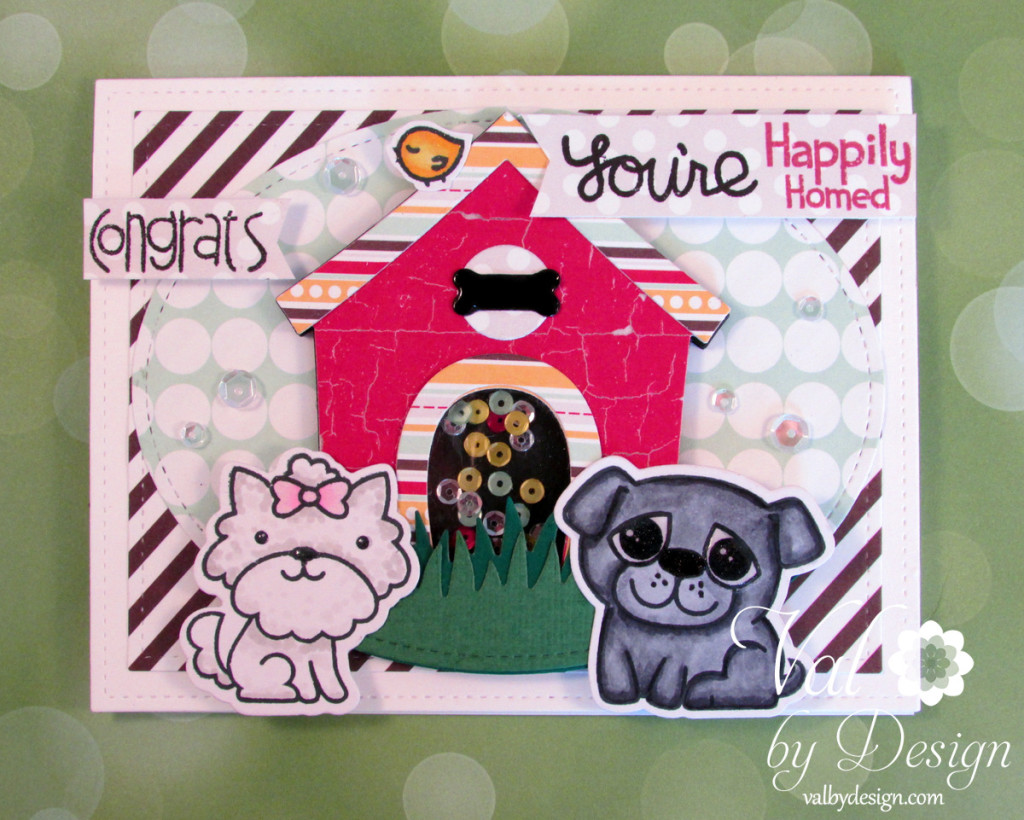 Paper Smooches stamps & dies, MFT die, Mama Elephant die, Lawn Fawn dies & ink, Pretty Pink Posh sequins, Fancy Pants paper, Copics {ValByDesign, 2015}