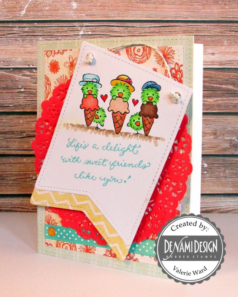 DeNami Design stamps, Lawn Fawn dies & ink & twine, My Mind's Eye paper, Doodlebug Doliy & enamel dots, Copic markers {ValByDesign, 2015}