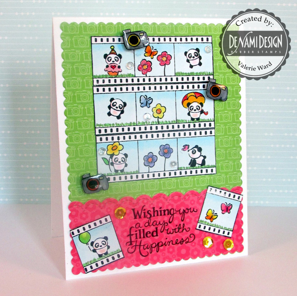 DeNami Design stamps, Doodlebug papers, Pretty Pink Posh border die and sequins, Mama Elephant die {ValByDesign, 2015}
