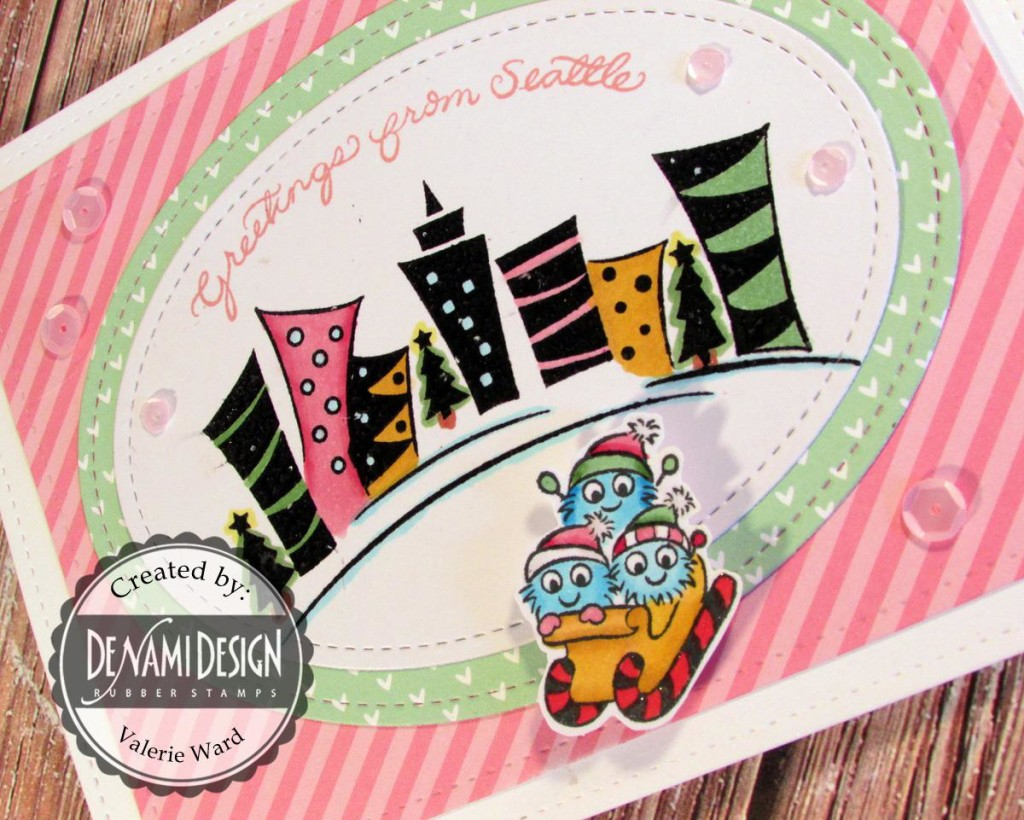 DeNami Design stamps, Lawn Fawn dies & paper & ink, Pretty Pink Posh sequins, Copic markers {ValByDesign, 2015}