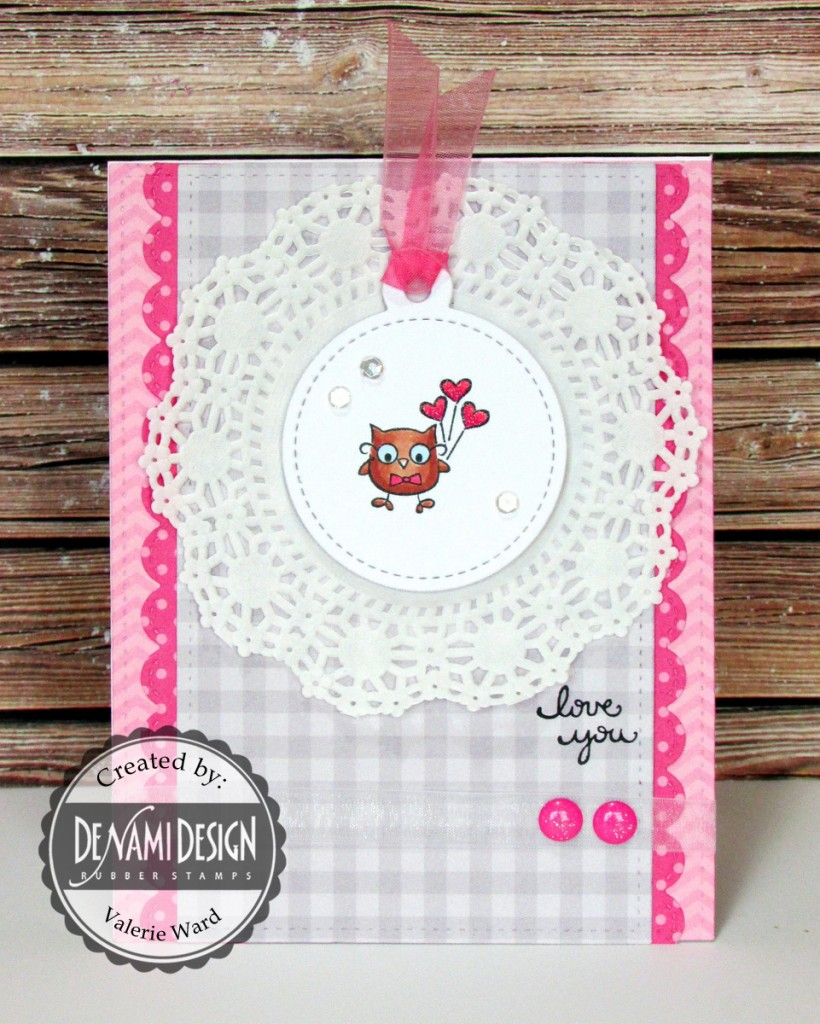 DeNami Design stamps, Lawn Fawn dies, MFT papers, Doodlebug & Pretty Pink Posh bling, Copics {ValByDesign, 2015}