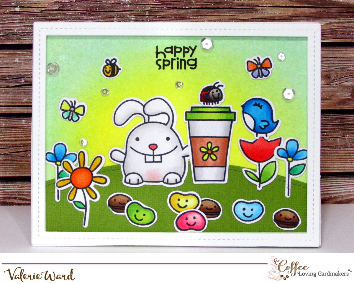 Spring Coffee Lovers Blog Hop ~ Paper Smooches, Pretty Pink Posh, Distress Inks, Copics {ValByDesign, 2016}