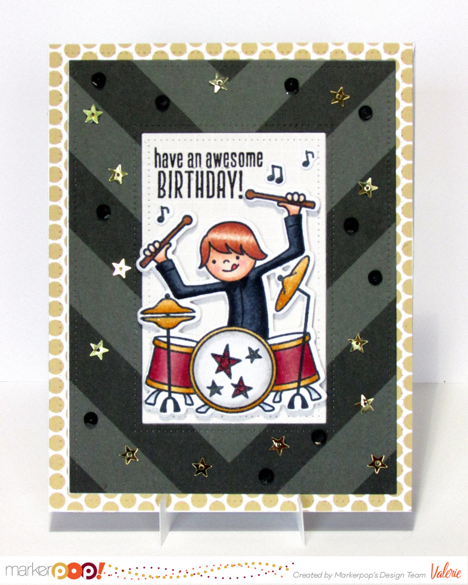 Avery Elle stamps & dies & paper, Pretty Pink Posh sequins, Copics {ValByDesign, 2016}