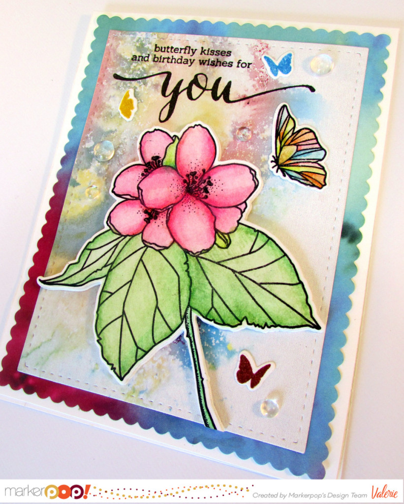 Mama Elephant stamps & dies, Prima watercolor pencils, Ken Oliver paper, Pretty Pink Posh droplets {ValByDesign, 2016}